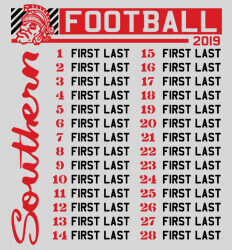 Custom Football Roster Shirt Designs - Southern List - desn-632s2