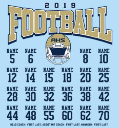 Custom Football Roster Shirt Designs - Football Unified Roster - idea-71f1