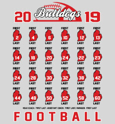 Custom Football Roster Shirt Designs - State Roster - desn-558s4