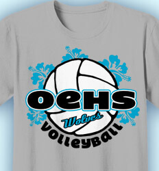 Volleyball Shirt Designs - Hibiscus Volleyball - idea-207h1